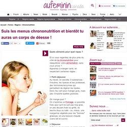 Chrononutrition: semaine de menus chrono-nutrition