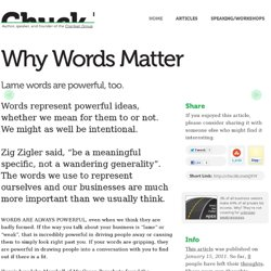 Chuck Blakeman / Why Words Matter