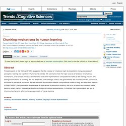 Trends in Cognitive Sciences - Chunking mechanisms in human learning