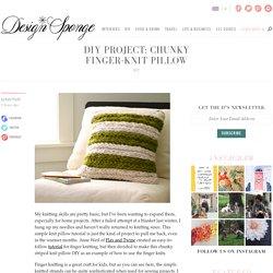 chunky finger-knit pillow