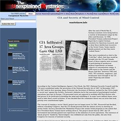 CIA and Secrets of Mind Control