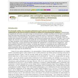 Manga: Urin y janan: dos conceptos espacio-temporales andinos intercambiables y dinámicos