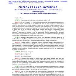 """Cicéron et la loi naturelle - Extraits du """"Traité des lois"""""""