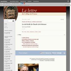 Le ciel étoilé de Claude Lévi-Strauss
