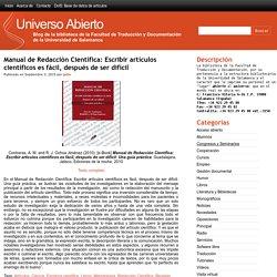 Manual de Redacción Científica: Escribir artículos científicos es fácil, después de ser difícil