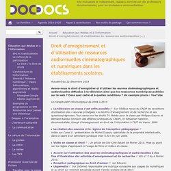 Droit d'enregistrement et d'utilisation de ressources audiovisuelles cinématographiques et numériques dans les établissements scolaires.