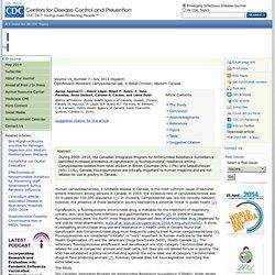 CDC EID – JUILLET 2013 – au sommaire:Ciprofloxacin-ResistantCampylobacterspp. in Retail Chicken, Western Canada