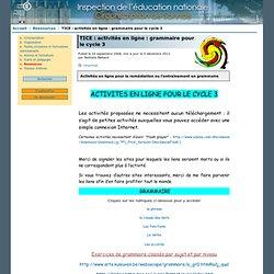 TICE: activités en ligne: grammaire pour le cycle 3