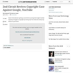 2nd Circuit Revives Copyright Case Against Google, YouTube