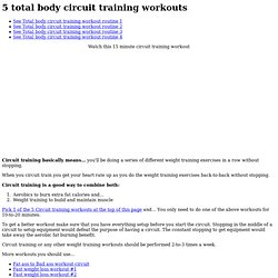 Total body circuit workout routine #2 - lose weight - StumbleUpon