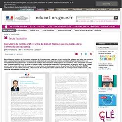Circulaire de rentrée 2014 : lettre aux membres de la communauté éducative - Ministère de l'Éducation nationale, de l'Enseignement supérieur et de la Recherche