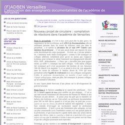 Nouveau projet de circulaire : compilation de réactions dans l'académie de Versailles : (F)ADBEN Versailles
