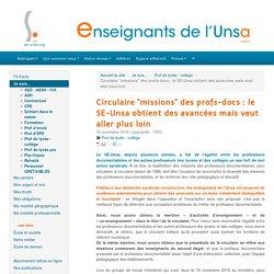 """Circulaire """"missions"""" des profs-docs : le SE-Unsa obtient des avancées mais veut aller plus loin - ENSEIGNANTS DE L'UNSA"""