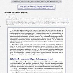 Circulaire n° 2001-144 : Les troubles spécifiques du langage