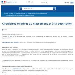 Circulaires relatives au classement et à la description (FranceArchives)