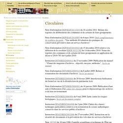 circulaires relatives à la préservation des documents d'archives