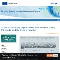 2019 Circularity Gap Report reveals that the world is only 9% circular and the trend is negative