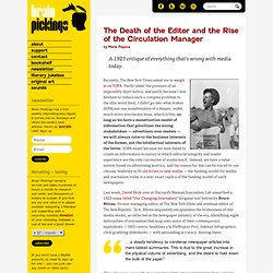 The Death of the Editor and the Rise of the Circulation Manager
