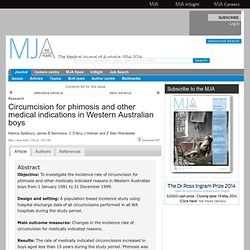 Circumcision for phimosis and other medical indications in Western Australian boys