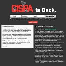 CISPA is Back. - Take Action Now