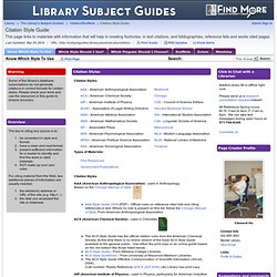 Know Which Style To Use - Citation Style Guide - The Library's Subject Guides! at American University