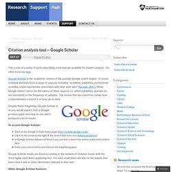 Citation analysis tool – Google Scholar