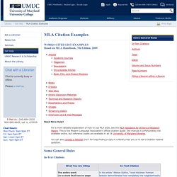 MLA Citation Examples - UMUC Library