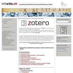 Style de citation infoclio.ch - Instructions pour Zotero