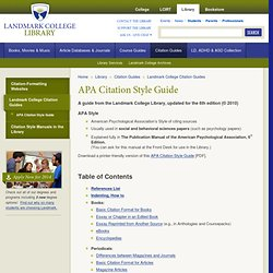APA Citation Style Guide — Landmark College