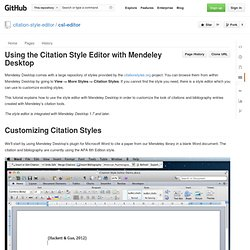 Using the Citation Style Editor with Mendeley Desktop · citation-style-editor/csl-editor Wiki