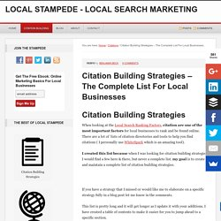 Citation Building Strategies - The Complete List For Local Businesses