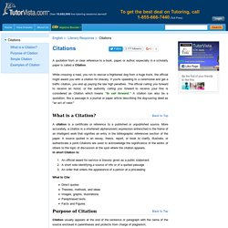 Citations - Definition, Purpose, Simple Citation & Examples