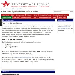 In-Text Citations - APA Citation Style 6th Edition - LibGuides at University of St. Thomas - Houston