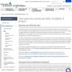 Citer selon les normes de l'APA - Bibliothèques - Université de Montréal
