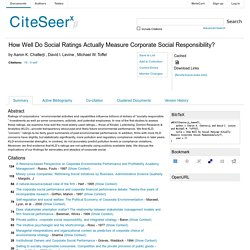 How Well Do Social Ratings Actually Measure Corporate Social Responsibility?