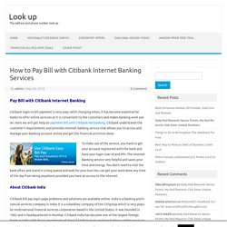 How to Pay Bill with Citibank Internet Banking Services