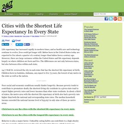 Cities with the Shortest Life Expectancy In Every State