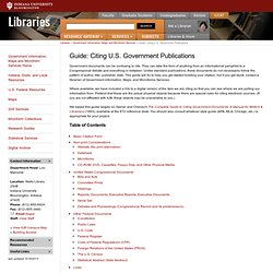 Guide: Citing U.S. Government Publications