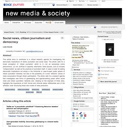 Social news, citizen journalism and democracy