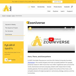 Citizen Science and Zooniverse at the Adler Planetarium