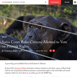 Swiss Court Rules Citizens Allowed to Vote on Primate Rights