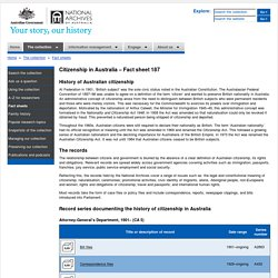 Citizenship in Australia - Fact sheet 187 – National Archives of Australia, Australian Government