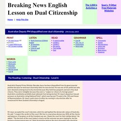 ESL Lesson Plan on Dual Citizenship - Breaking News English Lesson