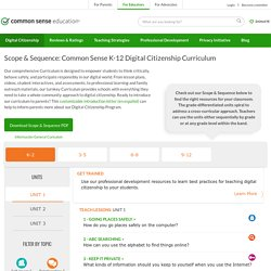 Scope & Sequence: Common Sense K-12 Digital Citizenship Curriculum