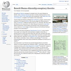 Barack Obama citizenship conspiracy theories