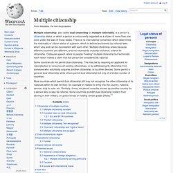 Multiple citizenship