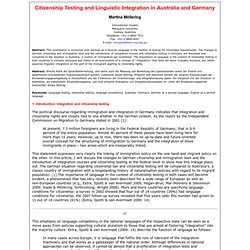 ZIF 14 (2), 2009. M. Möllering: Citizenship Testing and Linguistic Integration in Australia and Germany