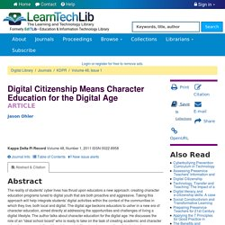 Digital Citizenship Means Character Education for the Digital Age - Learning & Technology Library (LearnTechLib)