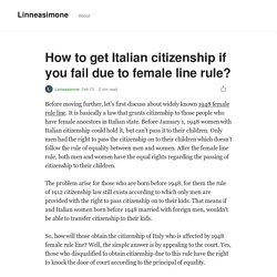 How to get Italian citizenship if you fail due to female line rule?