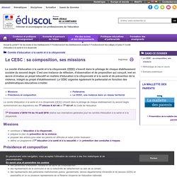 Comité d'éducation à la santé et à la citoyenneté - Le CESC : sa composition, ses missions